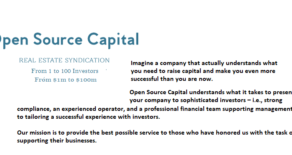 Imagine a company that actually understands what you need to raise capital